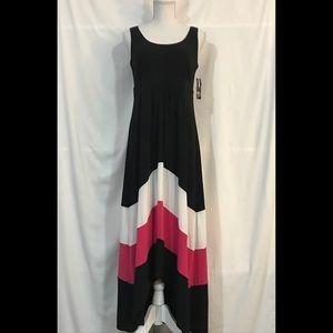 Sz 6 Black High Low Dress Pink White Chevron NWT